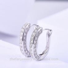 Custom Made Earring Brass New Model Earrings White Stone