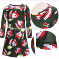 2017 High Quality Fashion Navy Green Colorful Printed Slim Fit Clothes Supplier Christmas Clothes Women Dress