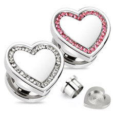 Crystal Heart Ear Tunnel Plug Piercing