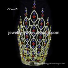 Мода розового хрусталя короны Большой Pageant тиара короны розовый тиара ювелирных тиара