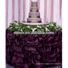 Graceful bridal table cloth with ruffles, satin fabric table cloth for wedding