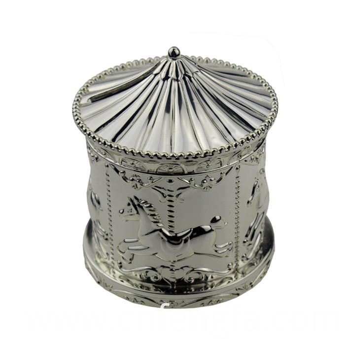 delicate matellic silver high-end merry-go-round shape coin bank