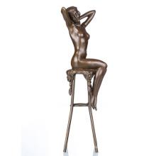 Desnudo figura femenina artesanía de metal desnudo Lady Home Deco latón estatua TPE-467