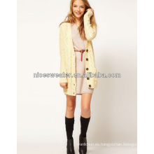 largo mujeres cable pescador suéter