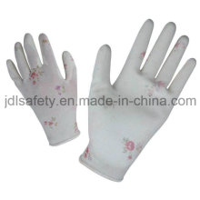 Printed Polyester Work Glove with PU Palm Coated (PN8014-3)