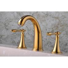 Q30213G Robinet de lavabo à trois trous, plaqué or, 8 po