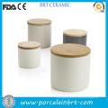 Vasilha de cerâmica de açúcar café chá vitrificada colorida com tampa de bambu