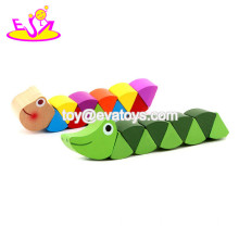 New hottest cartoon colorful wooden caterpillar toy for kids W14I032