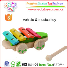 Brightly Coloured Pull Along Wooden Musical Crocodile Toys