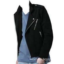 Black Melton Men's Biker Jacket with Anti-silver Snap Button to Epaulet and Collar Leaf