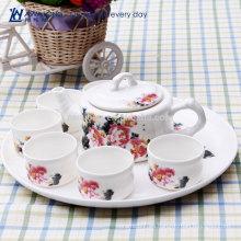 Diseño de lirio de agua diseño de té de china de hueso kongfu hermoso diseño al por mayor Estilo chino de cerámica