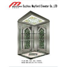 Ascenseur de passager d'acier inoxydable de miroir de 630kg avec la salle des machines
