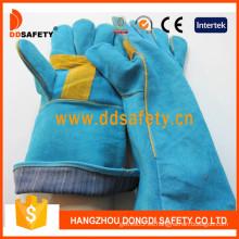 Guantes de seguridad del guante del soldador de cuero dividido vaca -Dlw614