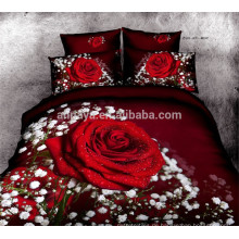 100% Baumwolle Tagesdecke 3D Red Rose Design Bettwäsche Set China Großhandel