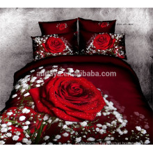 100% Cotton Bedspread 3D Red Rose Design Bedding Set China Wholesale
