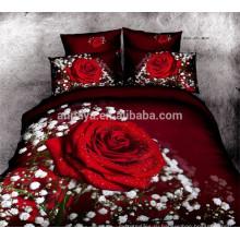 100% хлопок Покрывало 3D Красная роза дизайн постельных принадлежностей Китай Оптовая