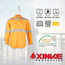 Chemise de travail 100% coton résistant aux flammes pour un usage industriel