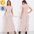 Contrast Striped Full Length Dress Manufacture Wholesale Fashion Women Apparel (TA3173D)