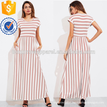 Contrast Striped Full Length Dress Manufacture Wholesale Fashion Women Apparel (TA3173D)