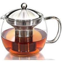 Verre de théière borosilicate résistant à la chaleur avec infuseur à thé