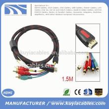 19 Pin HDMI Type A Male to 5 RCA Male Plug Audio Vedio Cale