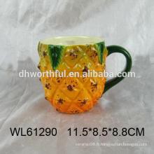 Vente en gros de tasse en ananas en céramique design unique en haute qualité