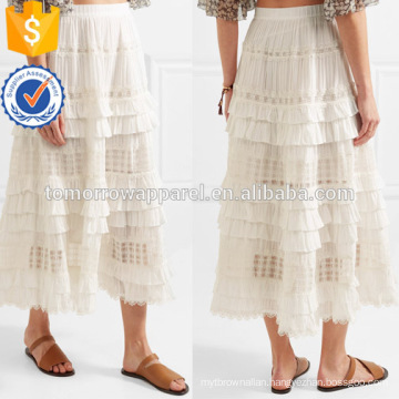 Latest Design 2019 Tiered Lace White Cotton Embroidered Midi Summer Skirt Manufacture Wholesale Fashion Women Apparel (TA0025S)