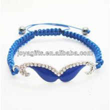 2014 wholesale woven shamballa bracelet Diamante blue Mustache blue wire woven bracelet