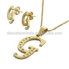 Ensemble de bijoux et collier 18K plaqué or en acier inoxydable G