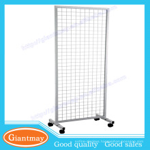 double side hanging 4 wheels wire grid display rack