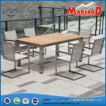 Heißer Verkauf Holz Esstisch und Stühle moderne Outdoor-Ess-Set