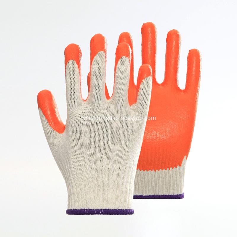 Cotton Liner Orange Latex Coating Safety Gloves
