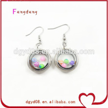 20mm steel color round locket jewelry earrings