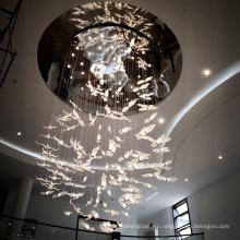 Luz colgante de encargo de la forma del cisne del palacio del pasillo del chalet