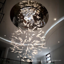 Custom villa hall palace swan shape pendant light