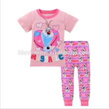 Nueva moda impresa de manga corta chica niños trajes de dormir de algodón para niños pijamas al por mayor