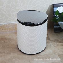 PU Blanco Estilo Aotomatic sensor de basura Bin (E-9LA)