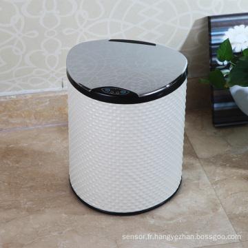 Boîte à ordures à capteur aotomatique de style blanc PU (E-9LA)