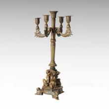 Kerzenständer Bronze Skulptur Mädchen Carving Messing Statue Kerzenständer Tpch-056