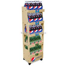 Atractivo piso de pie Logotipo personalizado Calidad Promocional De madera Vino Beverage Drink Display Stand