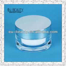 Акриловые косметические пластиковые банки 50г с алюминиевыми крышками