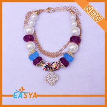 Wholesale hand made girls' fashion jewelry bracelet with pearl Pendant