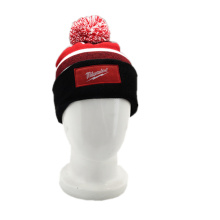 2019 new fashion acrylic custom woven label knitted hat with a pompom