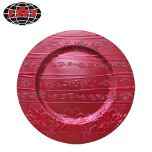 Red Pattern Plastic Charger Plate