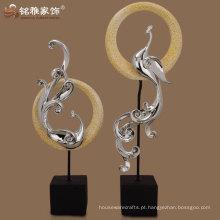 Figurinha de pavão de resina abstrata de alta qualidade para decoração de casa