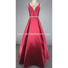 Y Neck Bridesmaid Dress with Beaded Waistband