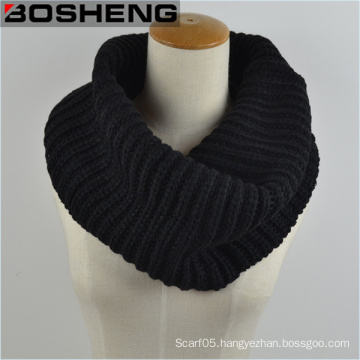 Unisex Black Knitted Scarf, Thick Warm Knitted Circle Infinity Scarf