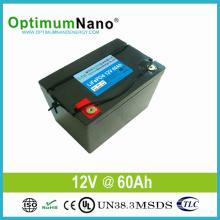 Batería de iones de litio de larga duración 12V 60ah para luz solar