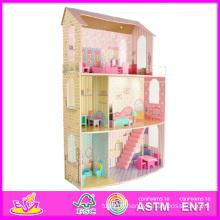 2014 nouveaux enfants mignons en bois maison de poupée jouet, populaire belle maison de poupée en bois enfants, mode bricolage bricolage en bois maison de poupée W06A042