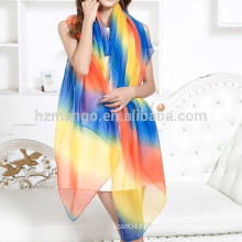 Wholesale cheap chiffon infinity rainbow scarf